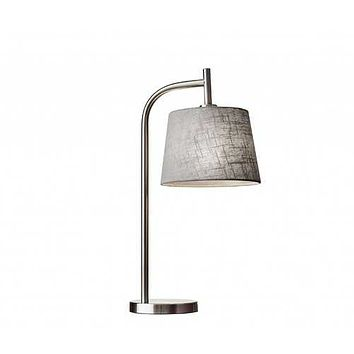 Soft Contemporary Steel Metal Arc with Textured Grey Linen Shade Table Lamp