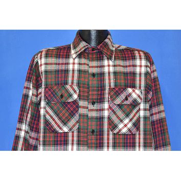 70s Mr. Leggs Red Green Blue Flannel Button Down Shirt Large