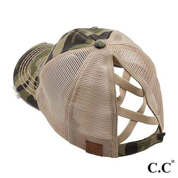 C.C. Camouflage Distressed Crisscross High Ponytail Cap