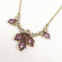Gold and purple rhinestone necklace, lilac rhinestone necklace, 1940s vintage rhinestone necklace, simple rhinestone necklace, necklet