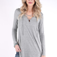 Lacy Like Sunday Morning Knit - Heather Grey