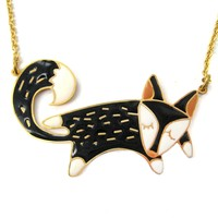 Handmade Adorable Fox Wolf Shaped Animal Pendant Necklace | Limited Edition