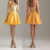 Dress 2016 New Lady Women Fashion Sequin Short Mini Strapless Formal Wedding Ball Gown Prom Party Dress Golden Silver