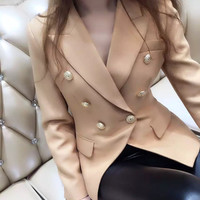 2016 NEW arrive Women's elegant   double breasted blazer gold buttons