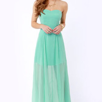Hit List Strapless Mint Green Maxi Dress
