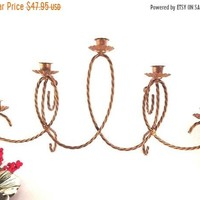 Wall Hanging Candelabrum Five Branch Taper Candle Holder Distressed Gold Twisted Metal Centerpiece Vintage 1970's Hollywood Regency Decor
