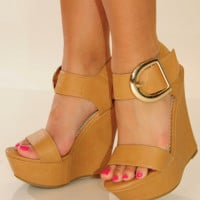 Live It Up Wedges: Tan