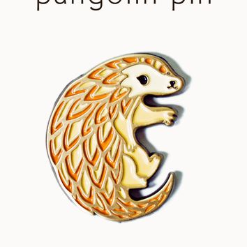 Pangolin Enamel Pin -- Little Pangolin Lapel Pin by boygirlparty