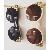 Studded Round Frame Sunglasses, Edgy Black or Beige with Gold Studs, Cat Eye