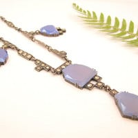 Striking Art Deco Necklace, Sterling Silver Blue Purple Glass with Marcasites, Wonderful Design, Germany, Circa 1920s 1930s