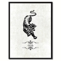 Tiger Chinese Zodiac Canvas Print, Black Picture Frame Home Decor Wall Art Gift