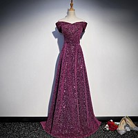 Sequined Boat Neck Cap Sleeves Long Evening Dress