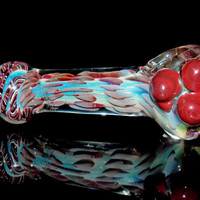 Color Changing Pipe Fumed Pattern with Crimson Drops & Marbles Glass Spoon Bowl with Flower Top