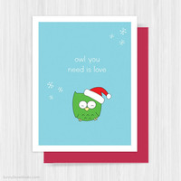 Cute Christmas Card Love Fun Funny Holiday Cards Happy Holidays Owl Pun Handmade Greeting Merry Xmas Humor Humorous Gifts For Friend Her Him
