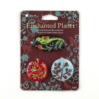 Blue Moon Beads®, glass, multicolored,  hand-painted bird, leaf designs and  hand-painted parrot design. Sold per pkg of 3.