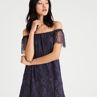 AE Allover Lace Off-The-Shoulder Shift Dress, Navy