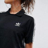 shosouvenir : adidas Originals White/Black Three Stripe Polo Neck T-Shirt