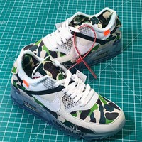 Bape X Off White X Nike Air Max 90 Camo Sport Running Shoes - Best Online Sale