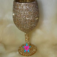 Gold Trim Rhinestone Wedding Glasses Goblet Style Cup