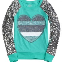 Sequin Sleeve Knit Sweatshirt   Girls Tops & Tees Clothes   Shop Justice