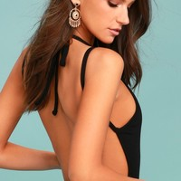 Revival Black Backless Bodysuit