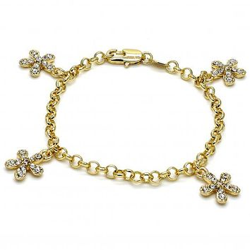 Gold Layered 03.63.1354.06 Charm Bracelet, Flower and Rolo Design, with White Crystal, Polished Finish, Golden Tone