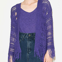 Purple Tassel Knitted Cardigan and Vest