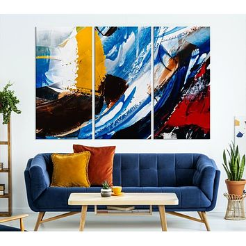 Abstract Paint Brush Strokes Large Wall Art Abstract Canvas Print