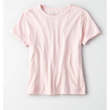 AE Easy Striped Fitted Classic Tee, Pink