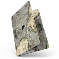 """The Vintage Coast Map - 13"""" MacBook Pro without Touch Bar Skin Kit"""