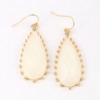 Dot Trim Teardrop Drop Earrings - Ivory, Mint or Coral