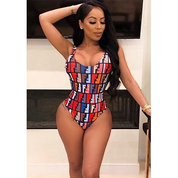 Fendi Fashion New Multicolor Letter Print One Piece Bikini Swimsuit And Skirt Two Piece Suit