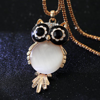 Owl Pendant Necklace with long chain