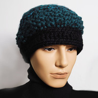 Mens teal beanie - Ready to Ship - Crochet and knit tam - Hunter green & black beret - Fashion knit hat - Chunky knit hat - Teen boy hat
