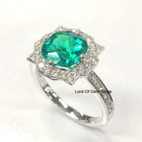 Round Emerald Engagement Ring Pave Moissanite 14K White Gold 7mm Art Deco Antique Floral