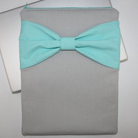 MacBook Pro or Air, Laptop Case / Sleeve - Gray and Turquoise with Center Bow & Pocket - Double Padded