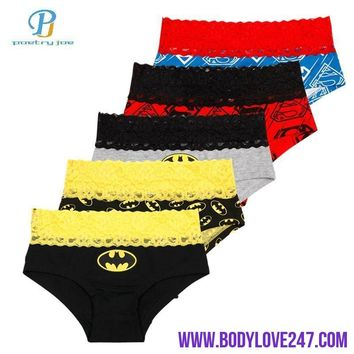 Pink Heroes 5pcs/lot Women Underwear Briefs Classic Cartoon