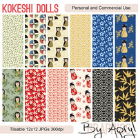 Kokeshi Dolls Digital Paper Scrapbook Paper Background Pack Set of 12 300dpi 12x12 JPGs Seamless Tileable Commercial Use Royalty Free