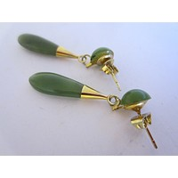 Green Nephrite Jade Drop Gold Pierced Earrings