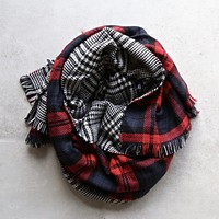 Plaid + Houndstooth Scarf in Red