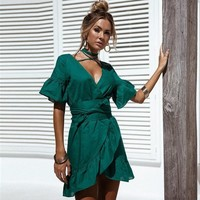 Sea Vacation Maxi Dress V-neck Ruffle Loudspeaker One Piece Dress [11923358287]