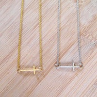 Cross Necklace - Gold Cross, Silver Cross, Cross, Gold, Silver, Minimalist Necklace, Simple Cross Necklace, Gift for Bridesmaid, Simple