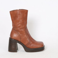 90s Womens 9 STEVE MADDEN Brown Leather Ankle Zip Vintage Platform 70s Style Boho Hippie Festival Boots