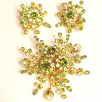 Vintage Vendome Rhinestone Brooch and Earrings Set, Light Green, Starburst, Statement Set, 1960s
