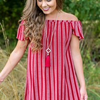 Everly So Good To Me Striped Off-The-Shoulder Dress