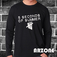 5sos Shirt 5 Second Of Summer Long Sleeve 5 sos Long Sleeved Printed Black and White Color Unisex Size - AR54