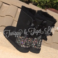 EXCLUSIVE - Swarovski Crystal Embellished Bailey Bow Uggs in Sparkly Night (TM)   - Black Bailey Bow Uggs with Crystals