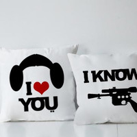 Star Wars I Love You And I Know Couples Square Pillow Covers Pillow Case Gift Couples Case