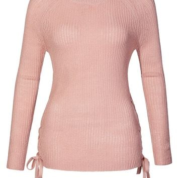 Casual Round Neck Lace Up Side Soft Knit Pullover Sweater Top (CLEARANCE)