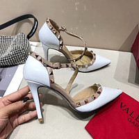 Valentino Fashion Trending Leather Women High Heels Shoes Women Sandals Heel